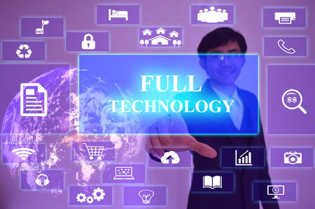 size distribution: FULL TECHNOLOGY  concept  presented by  businessman touching on  virtual  screen ,