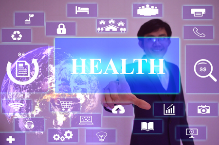 oxidative: HEALTH  concept  presented by  businessman touching on  virtual  screen , Stock Photo