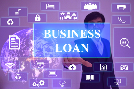 underwriter: BUSINESS LOAN concept  presented by  businessman touching on  virtual  screen ,