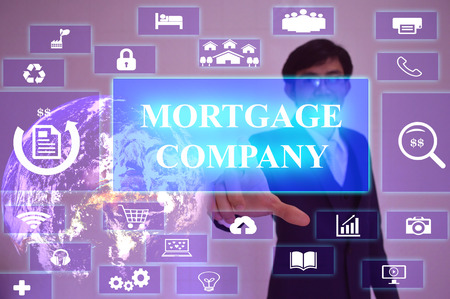 fixed rate: MORTGAGE COMPANY  concept  presented by  businessman touching on  virtual  screen ,