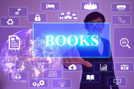 presented: BOOKS concept  presented by  businessman touching on  virtual  screen