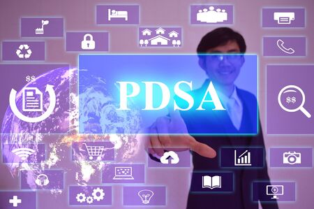 presented: PDSA concept  presented by  businessman touching on  virtual  screen