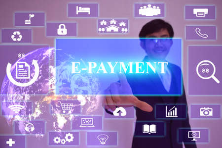 epayment: E-PAYMENT concept  presented by  businessman touching on  virtual  screen