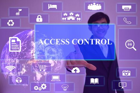 lockout: access control  concept  presented by  businessman touching on  virtual  screen