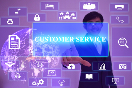 customer facing: CUSTOMER SERVICE  concept  presented by  businessman touching on  virtual  screen