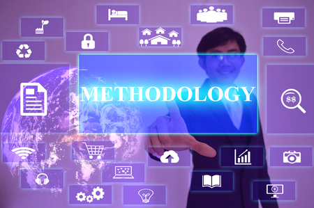 methodology: METHODOLOGY concept  presented by  businessman touching on  virtual  screen