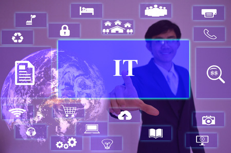 e systems: IT consultant concept  presented by  businessman touching on  virtual  screen