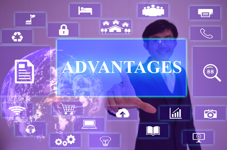 advantages: ADVANTAGES concept  presented by  businessman touching on  virtual  screen