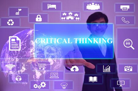 conclusions: CRITICAL THINKING  concept  presented by  businessman touching on  virtual  screen