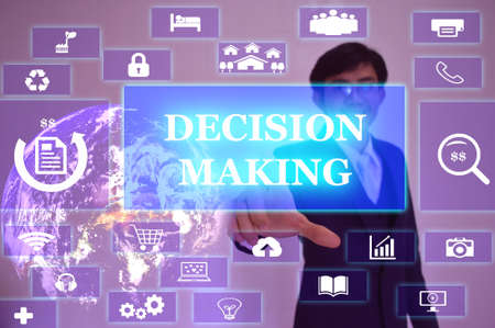 assumption: DECISION MAKING  concept  presented by  businessman touching on  virtual  screen