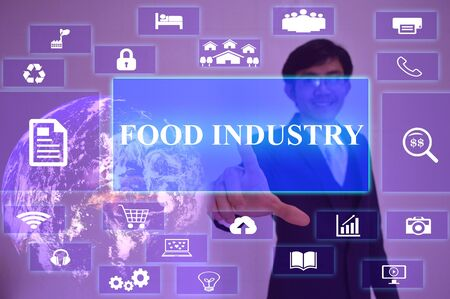 food industry: FOOD INDUSTRY  concept  presented by  businessman touching on  virtual  screen