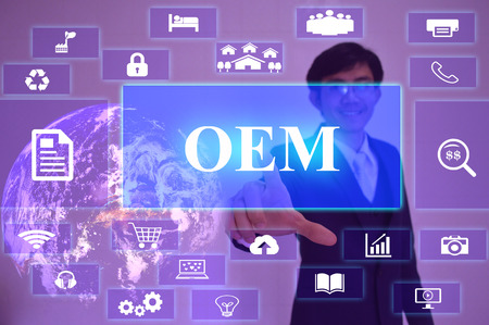 aftermarket: OEM or Original Equipment Manufacturer  concept  presented by  businessman touching on  virtual  screen