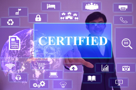 origin of man: CERTIFIED concept  presented by  businessman touching on  virtual  screen ,image element furnished by NASA