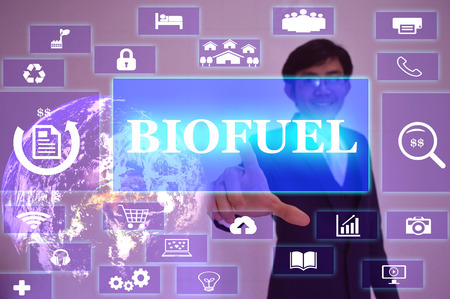 bioenergy: BIOFUEL concept  presented by  businessman touching on  virtual  screen