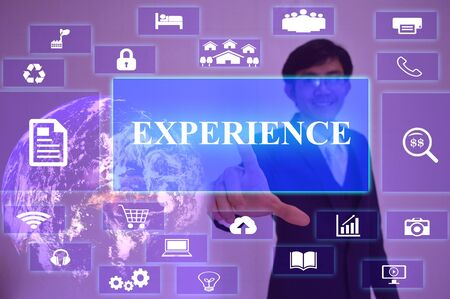 hiring practices: EXPERIENCE   concept  presented by  businessman touching on  virtual  screen