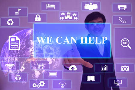 can we help: WE CAN HELP concept  presented by  businessman touching on  virtual  screen ,image element furnished by NASA Stock Photo