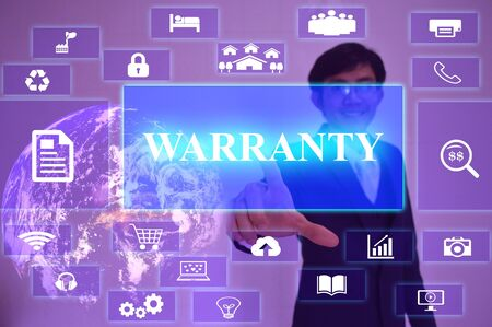validez: WARRANTY  concept  presented by  businessman touching on  virtual  screen ,image element furnished by NASA