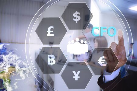 cfo: pressing chief financial officer (CFO)  with decorative detail, vintage tone Stock Photo