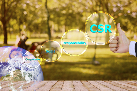 responsibility: pressing like corporate social responsibility (CSR) and small detail, vitage tone Stock Photo