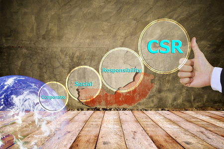 responsibility: pressing like corporate social responsibility (CSR) and small detail, vitage tone , image element furnished by NASA Stock Photo