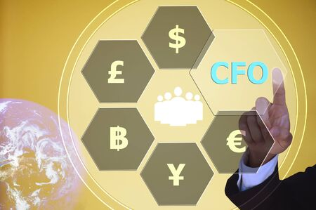 cfo: pressing chief financial officer (CFO)  with decorative detail, vintage tone , image element furnished by NASA