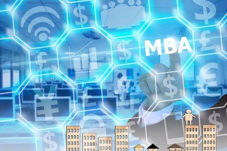 master degree: businessman touching MBA on modern virtual screen