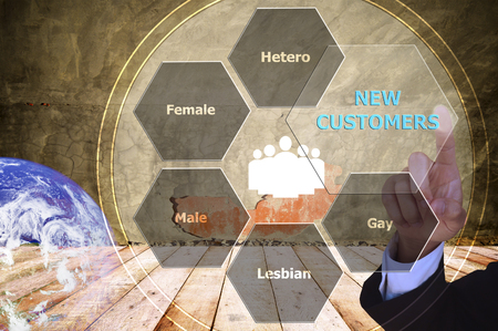homosexual partners: pressing new customers with decorative detail, vintage tone , image element furnished by NASA