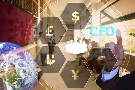 financial officer: pressing chief financial officer (CFO)  with decorative detail, vintage tone , image element furnished by NASA