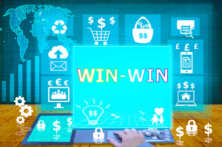 title hands: technology and biz concept.select  icon Win-Win on the virtual display
