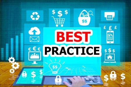 best practice: technology and biz concept.select  icon BEST PRACTICE  on the virtual display