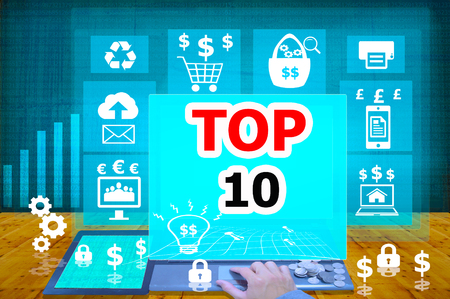 ten best: technology and biz concept.select  icon TOP 10  on the virtual display Stock Photo