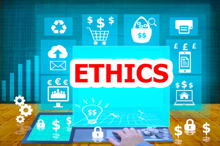 work ethic responsibilities: technology and biz concept.select  icon ETHICS  on the virtual display