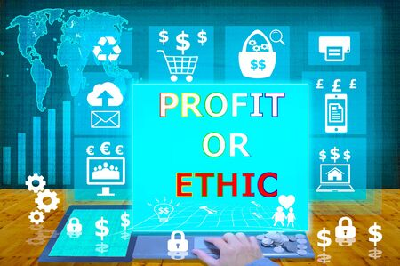 ethic: technology and biz concept.select  icon comparing concept of ethic and profit on the virtual display