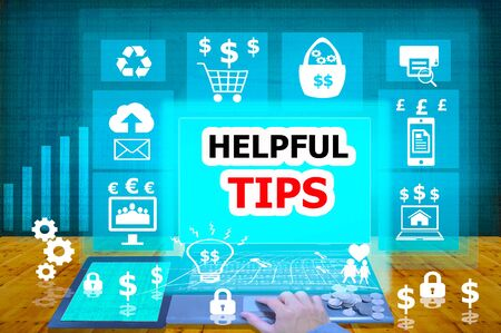 biz: technology and biz concept.select  icon helpful tips  on the virtual display