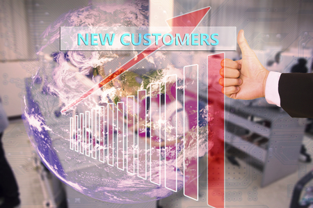 franchising: touching  new customers  on virtual screen vintage tone , image element furnished by NASA