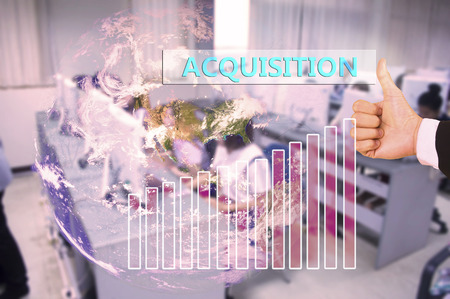 occupancy: touching acquisition  on virtual screen vintage tone , image element furnished by NASA