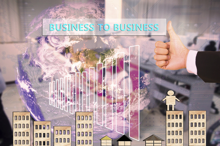 touching business to business  on virtual screen vintage tone , image element furnished by NASA