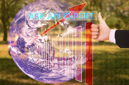 tax tips: touching ask an expert on virtual screen vintage tone , image element furnished by NASA