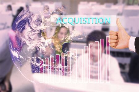 acquisition: touching acquisition  on virtual screen vintage tone , image element furnished by NASA