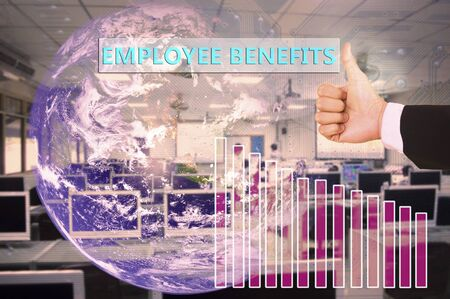avail: touching employee benefits  on virtual screen vintage tone , image element furnished by NASA