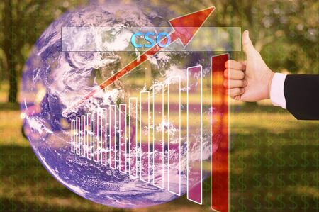 coporate: touching cso or chief strategy officer,chief security officer,chief sourcing officer on virtual screen vintage tone , image element furnished by NASA