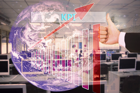 kpi: touching KPI or  key performance indicators  on virtual screen vintage tone , image element furnished by NASA