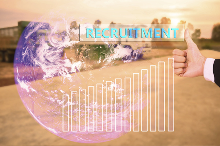 wagging: touching recruitment  on virtual screen vintage tone , image element furnished by NASA Stock Photo