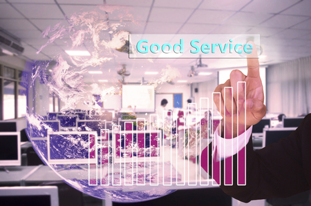 touched: Good Service concept touched by a businessman