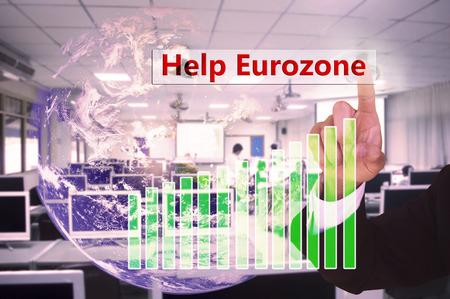 eurozone: touching Help Eurozone concept   on virtual screen vintage tone , image element furnished by NASA Stock Photo