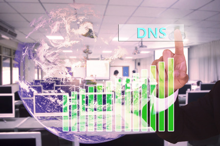 dns: touching DNS or domain name system on virtual screen vintage tone , image element furnished by NASA Stock Photo