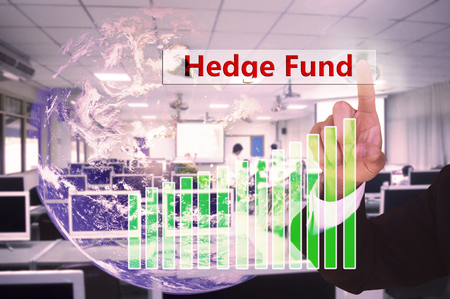 touching hedge fund  on virtual screen vintage tone , image element furnished by NASA Stock Photo