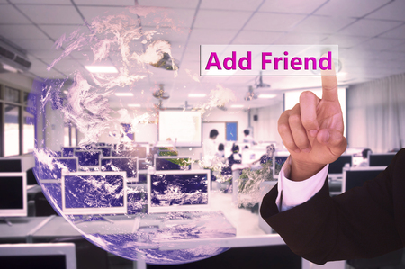 phon: touching add friend  on virtual screen vintage tone , image element furnished by NASA