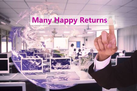 returns: touching Many Happy Returns on virtual screen vintage tone , image element furnished by NASA