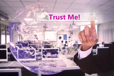 phon: touching trust me  on virtual screen vintage tone , image element furnished by NASA Stock Photo